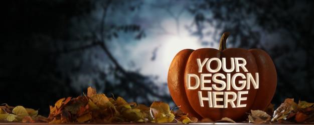 Vista de uma maquete de abóbora de halloween em uma cena noturna
