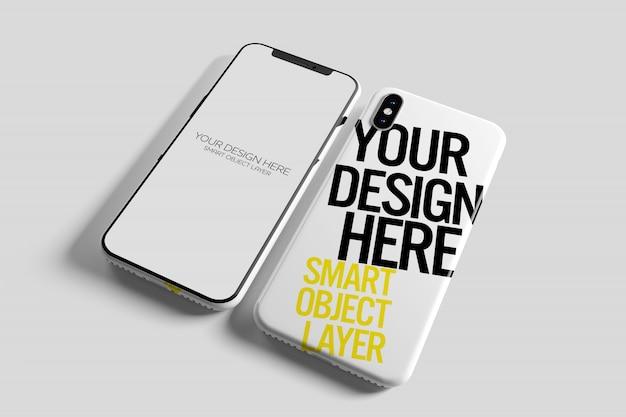 Vista de uma maquete de capa para smartphone