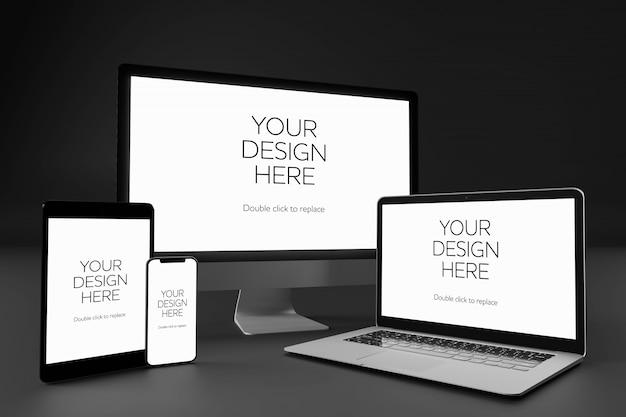 Vista de uma maquete de desktop, laptop, smartphone e tablet