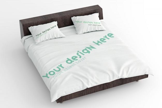 Vista de uma maquete de lençóis e travesseiros no estrado de madeira