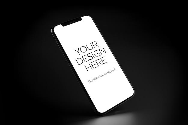 Vista de uma maquete de smartphone em fundo preto