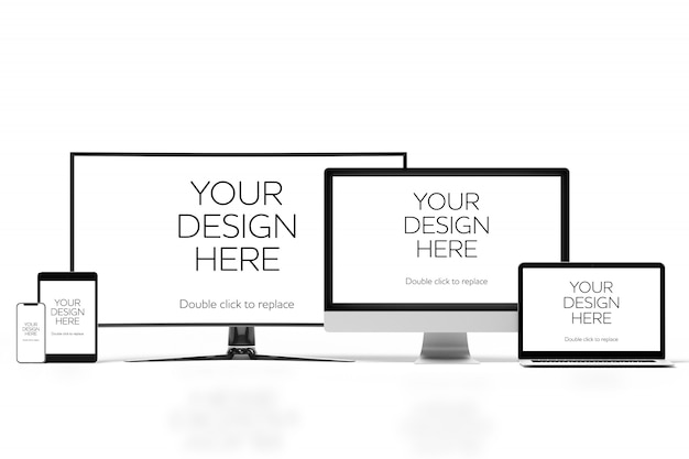 Vista de uma maquete de smartphone, tablet, computador desktop e laptop