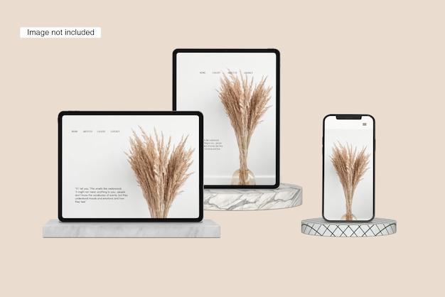 Vista de uma maquete de smartphone, tablet potrait e tablet landscape mockup