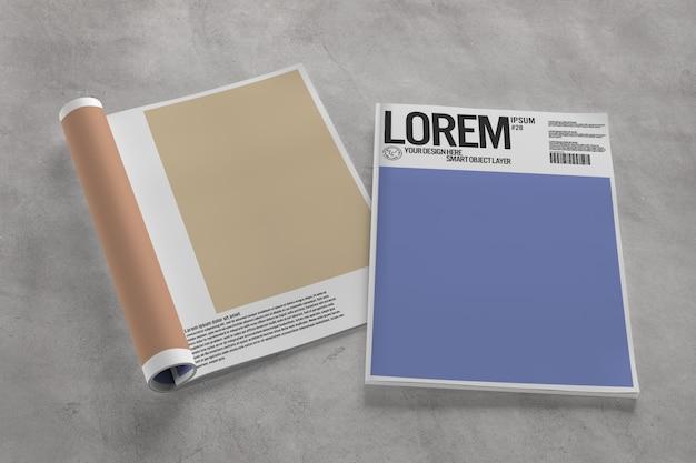 Vista de uma revista aberta e maquete de capa