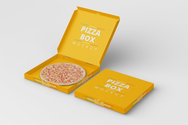 Vista em ângulo reto da maquete da pizza box Psd Premium