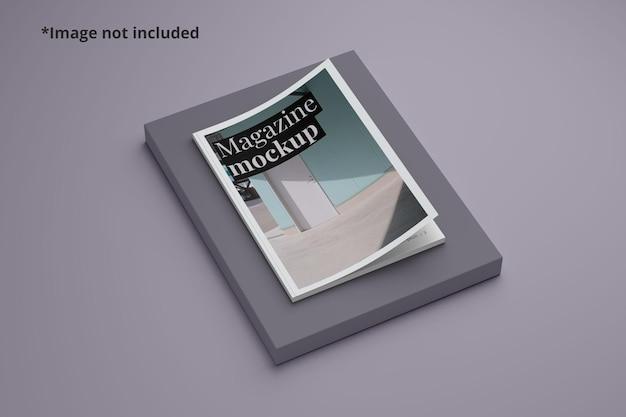 Vista em perspectiva da maquete da capa da revista