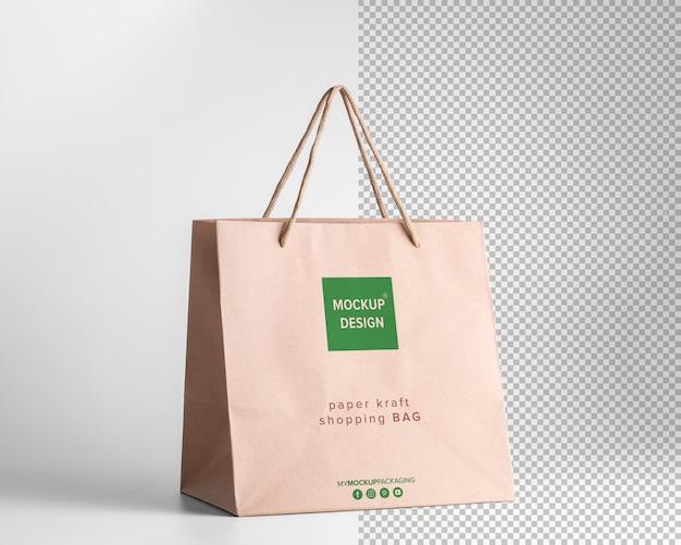 Vista em perspectiva da maquete de sacolas de compras de papel