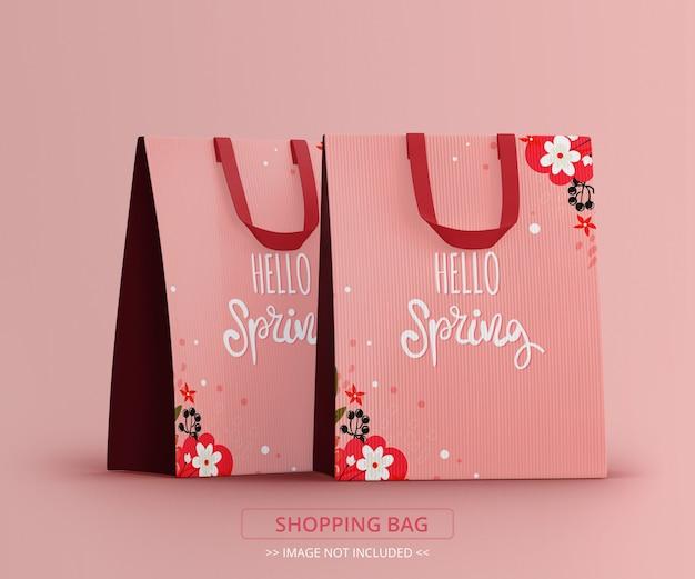 Vista em perspectiva de maquete de duas sacolas de compras