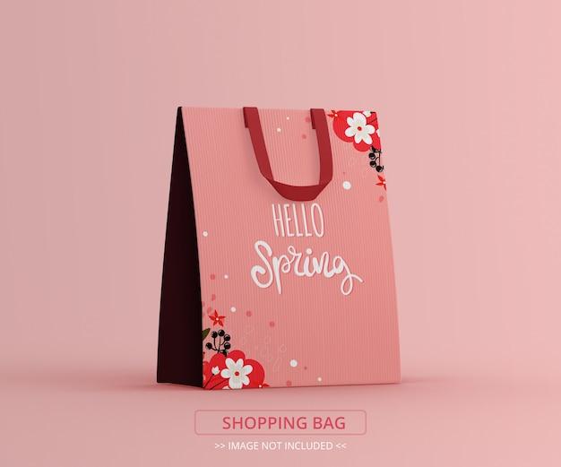 Vista em perspectiva de uma maquete de sacola de compras
