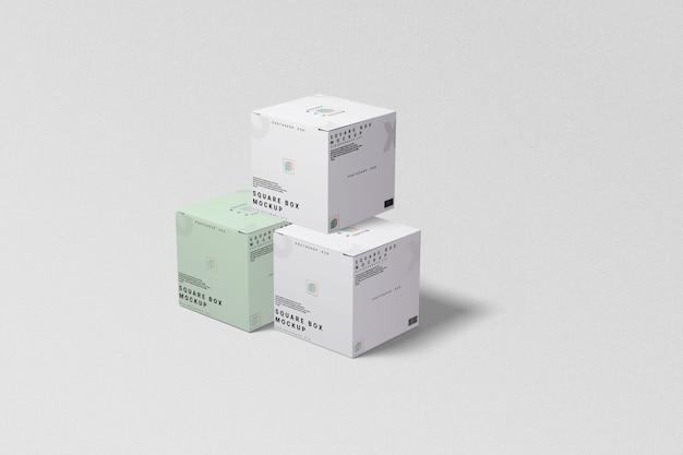 Vista esquerda da maquete de três caixas quadradas