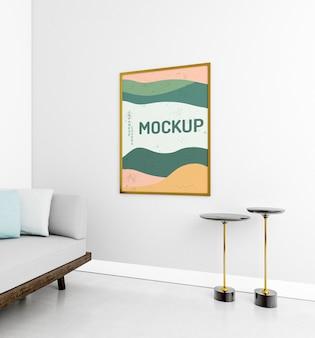 Vista frontal aconchegante composição em casa com maquete do quadro