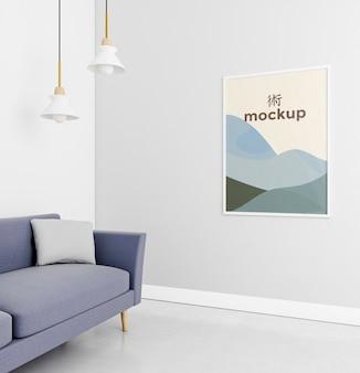 Vista frontal aconchegante variedade em casa com maquete do quadro