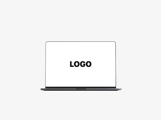 Vista frontal com moldura frontal macbook pro com software de barra de toque