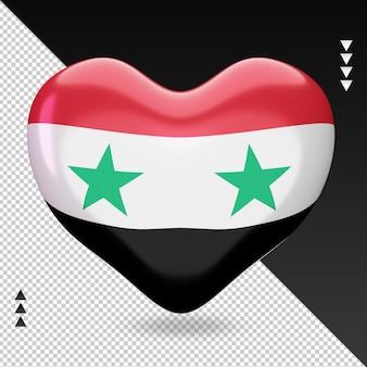 Vista frontal com renderização 3d do coração da bandeira da síria
