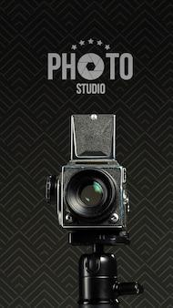 Vista frontal da câmera para estúdio fotográfico