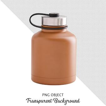 Vista frontal da garrafa marrom isolada Psd Premium