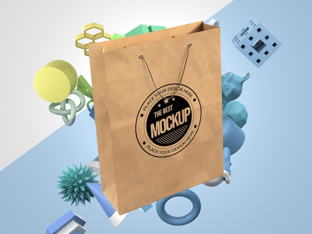 Vista frontal da maquete da sacola de compras