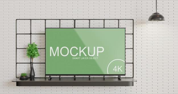 Vista frontal da maquete da tela de tv minimalista