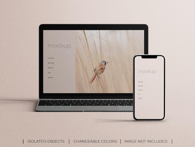 Vista frontal da maquete de apresentação da tela do aplicativo responsivo para smartphone e laptop