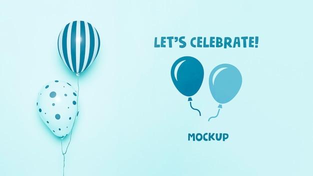 Vista frontal da maquete de balões de celebração