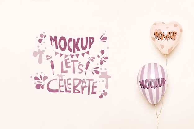 Vista frontal da maquete de balões para celebração