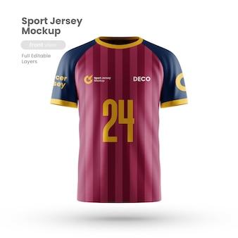 Vista frontal da maquete de camisa esporte