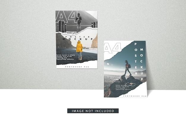 Vista frontal da maquete de cartazes a4