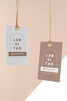 Vista frontal da maquete de etiquetas de papel