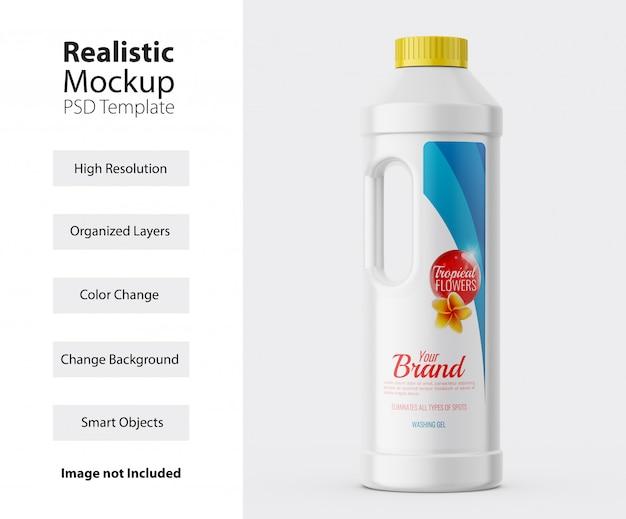 Vista frontal da maquete de frasco plástico de detergente