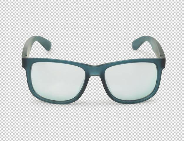 Vista frontal da maquete de óculos de sol