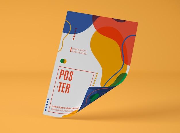 Vista frontal da maquete de papel com formas multicoloridas