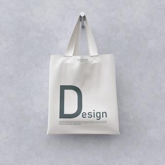 Vista frontal da maquete de saco de têxteis