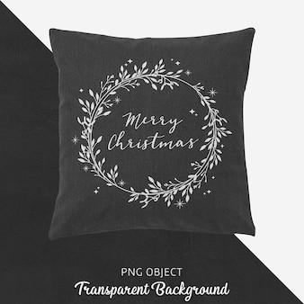 Vista frontal da maquete de travesseiro cinza de natal