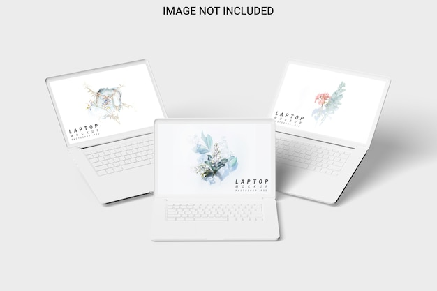Vista frontal da maquete de três laptops de argila