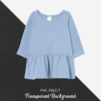 Vista frontal da maquete de vestido azul infantil