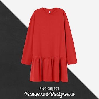 Vista frontal da maquete de vestido de mulher vermelha