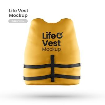 Vista frontal da maquete do colete salva-vidas