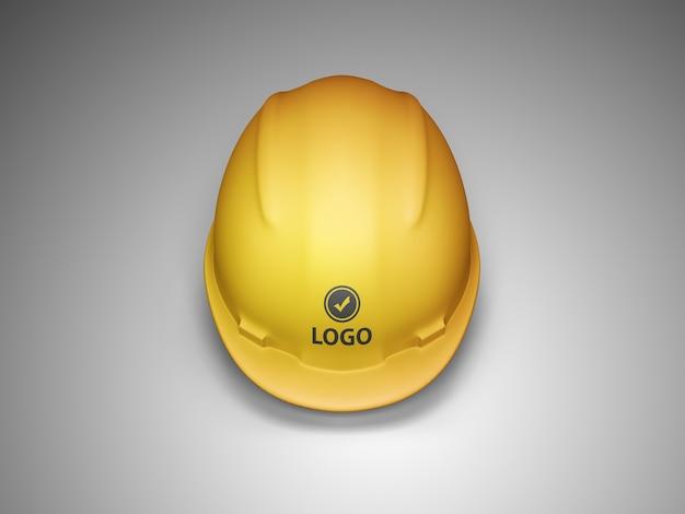 Vista frontal da maquete do logotipo do capacete de construção