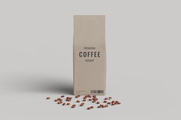 Vista frontal da maquete do saco de café com grãos de café