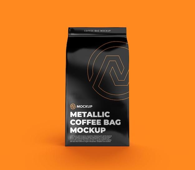 Vista frontal da maquete do saco de café metálico