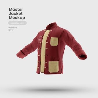 Vista frontal da maquete do uniforme da jaqueta