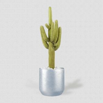 Vista frontal da planta em vaso na renderização em 3d