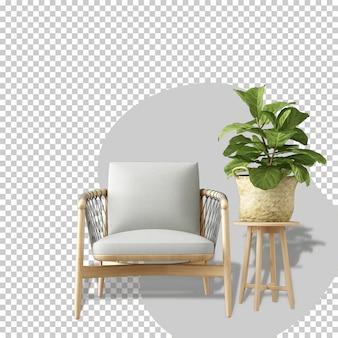 Vista frontal da poltrona e planta em renderização 3d