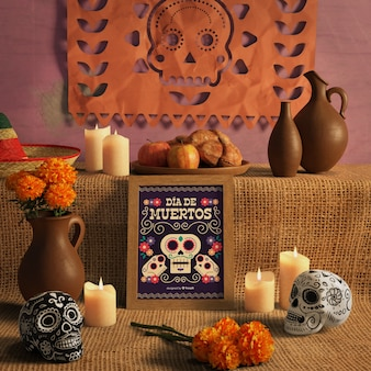Vista frontal de dia de muertos caveiras florais mexicanas tradicionais