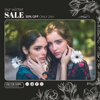Vista frontal de duas meninas com roupas de temporada de inverno