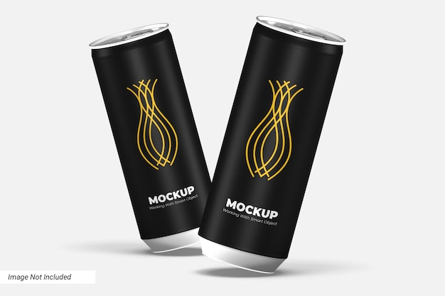 Vista frontal de maquete de lata de bebida