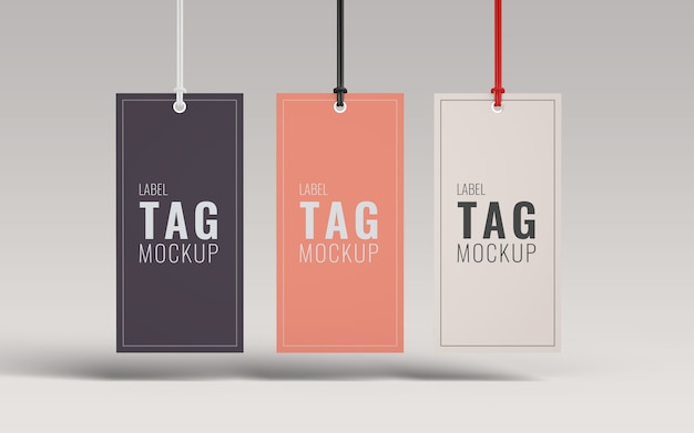 Vista frontal de maquete de marca de etiqueta de moda três