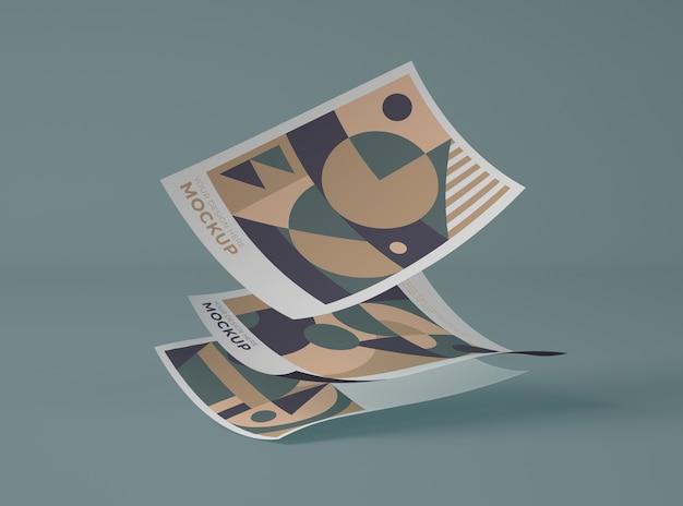 Vista frontal de papéis com formas geométricas