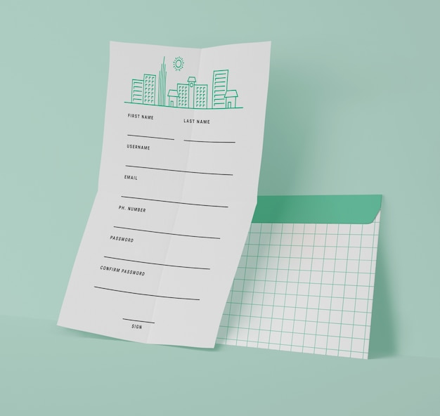 Vista frontal de papéis com linhas de grade