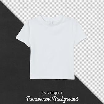 Vista frontal de uma camiseta branca de corte feminino